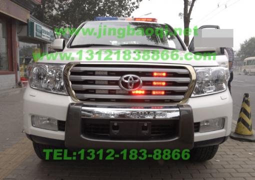 丰田兰德库路泽警车的超强安装美国VS SIGNAL V82警报器GL332A中网LED爆闪灯及长排警灯VS SIGNAL S201超亮螺旋管