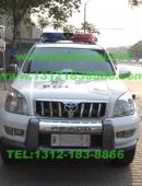 丰田霸道警车安装美国联邦信号道奇VISTA LED长排警灯及美国VS SIGNAL V7-1警报器